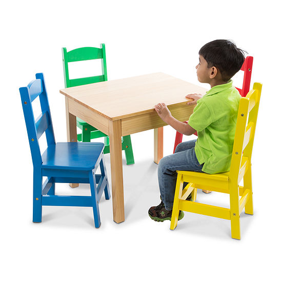 Melissa & Doug Table & 4 Chairs - Primary Colors 5-pc. Kids Table + Chairs-Painted