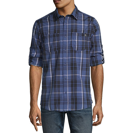 i jeans by Buffalo Mens Long Sleeve Button-Down Shirt