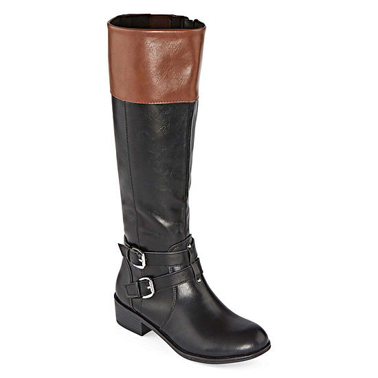 Arizona Womens Denver Wide Calf Riding Boots Block Heel