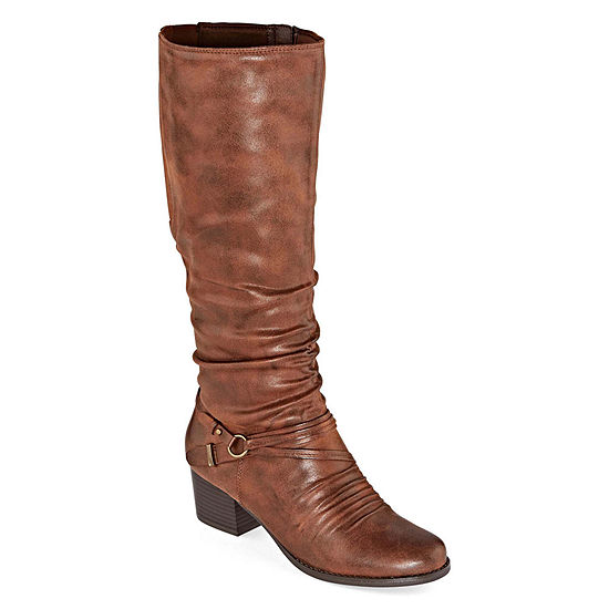 Yuu Womens Ryley Stacked Heel Riding Boots