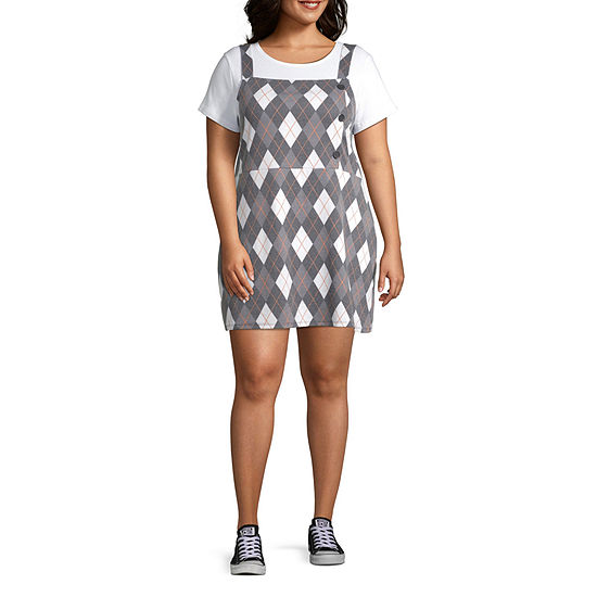 Arizona Sleeveless Argyle Bodycon Dress-Juniors Plus