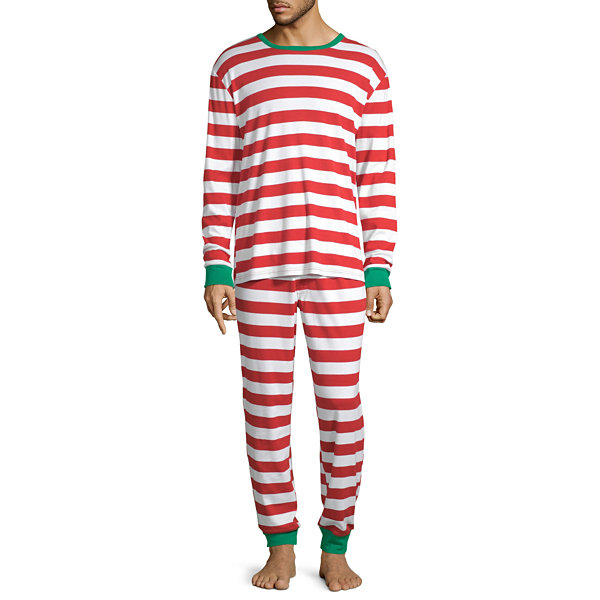 North Pole Trading Co. Red And White Stripe Family Mens 2-pc. Pant Pajama Set