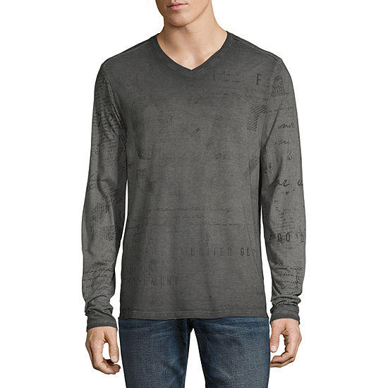 i jeans by Buffalo Mens V Neck Long Sleeve Graphic T-Shirt