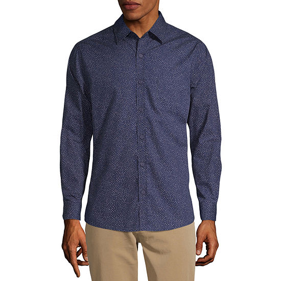 Haggar Mens Long Sleeve Button-Front Shirt
