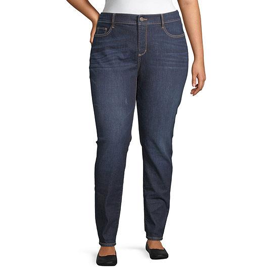 St. John's Bay - Plus Secretly Slender Womens Skinny Fit Jean