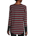 Liz Claiborne Weekend-Womens Scoop Neck Long Sleeve T-Shirt