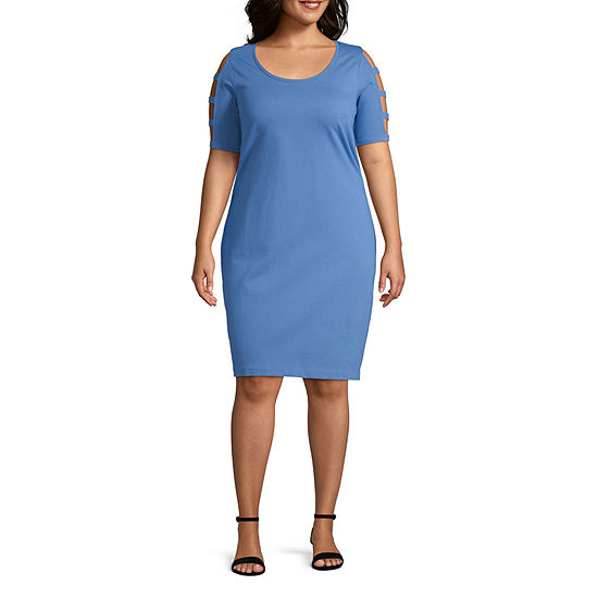 Bold Elements Short Sleeve Bodycon Dress-Plus