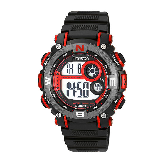 Armitron Pro Sport Mens Digital Black Strap Watch-40/8284red