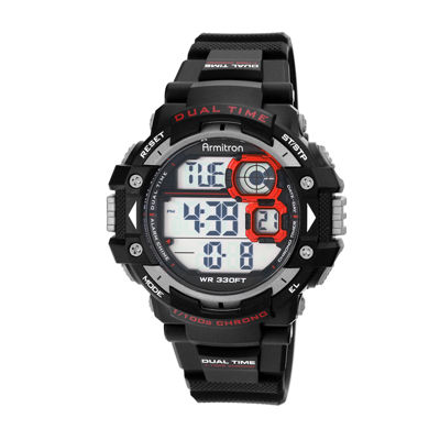 Armitron® Mens Pro Sport Black And Red Chrono Digital Strap Watch 40/8309RED