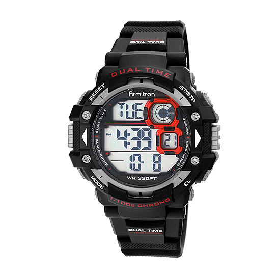 Armitron Pro Sport Mens Digital Black Strap Watch-40/8309red