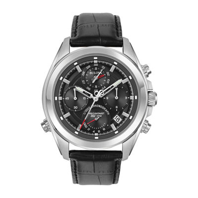 Bulova® Mens Black And Silver Tone Precisionist Chronograph Leather Strap Watch 96B259