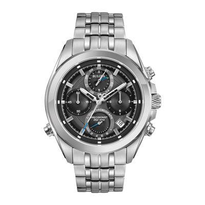 Bulova® Mens Silver Tone Gray Dial Precisionist Chronograph Bracelet Watch 96B260