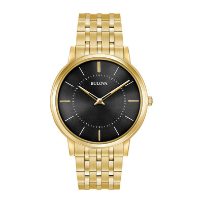 Bulova Mens Gold Tone Bracelet Watch-97a127