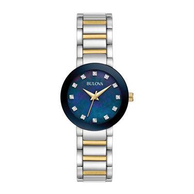 Bulova® Womens Two-Tone Blue Dial Diamonds Collection Bracelet Watch 98P157