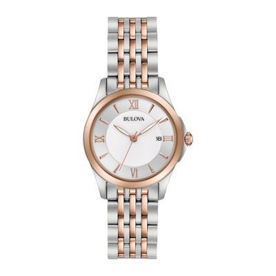 Bulova® Womens Silver And Rose Gold Tone DiamondsCollection Bracelet Watch 98M125
