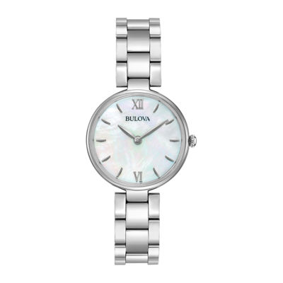 Bulova® Womens Silver Tone Mother Of Pearl Dial Classic Bracelet Watch 96L229