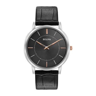 Bulova Mens Black Strap Watch-98a167