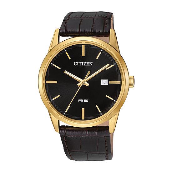 Citizen Quartz Mens Brown Leather Strap Watch-Bi5002-06e