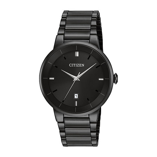 Citizen Quartz Mens Black Stainless Steel Bracelet Watch-Bi5017-50e