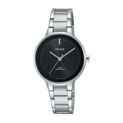 Pulsar Womens Silver Tone Bracelet Watch-Prs675