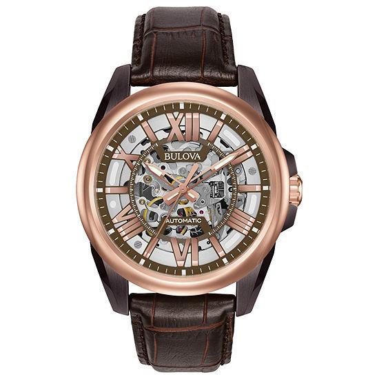 Bulova Sutton Mens Brown Automatic Strap Watch-98a165