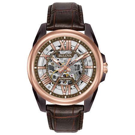 Bulova Sutton Mens Automatic Brown Leather Strap Watch-98a165, One Size