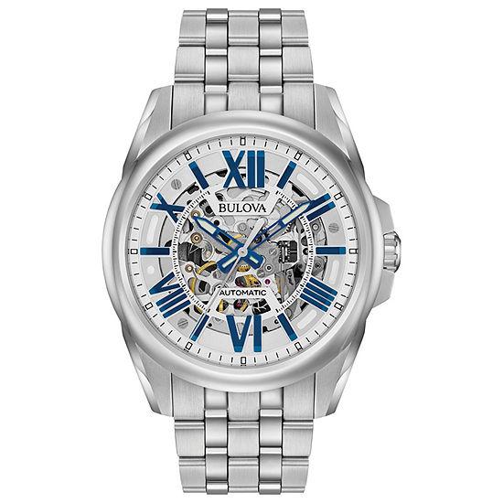 Bulova Sutton Mens Automatic Silver Tone Stainless Steel Bracelet Watch-96a187