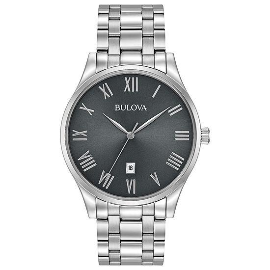 Bulova Classic Mens Silver Tone Stainless Steel Bracelet Watch - 96b261