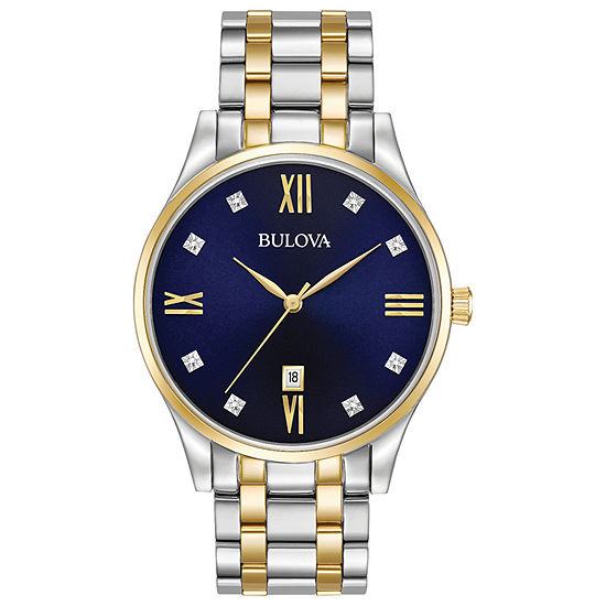 Bulova Classic Mens Two Tone Stainless Steel Bracelet Watch - 98d130
