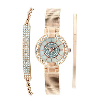 Elgin® Womens Rose Gold Tone Bracelet And Watch Set Eg16008RGST
