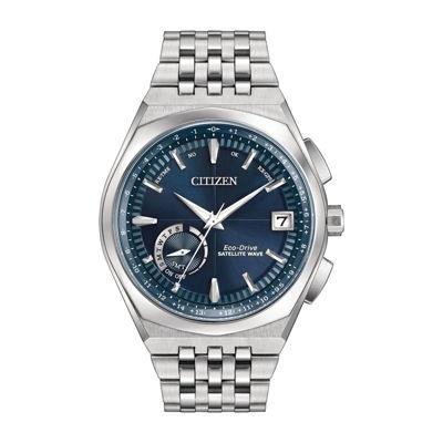 Citizen® Eco Drive Men's Silver Tone And Blue Satellite Wave World Time Gps Bracelet Watch CC3020-57L