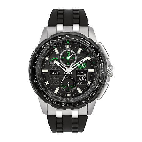 Citizen® Eco-Drive Mens Silver Tone And Black Skyhawk A-T Strap Watch JY8051-08E