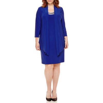 Tiana B. 3/4-Sleeve Embellished Neck Jacket Dress - Plus