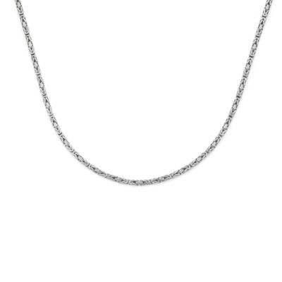 14K White Gold 080 Solid Byzantine Chain