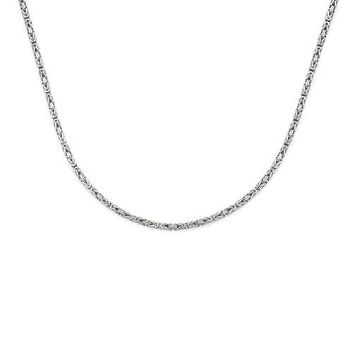 14K White Gold 080 Solid Byzantine Chain