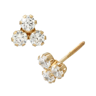 White Cubic Zirconia 14K Gold 5.5mm Stud Earrings