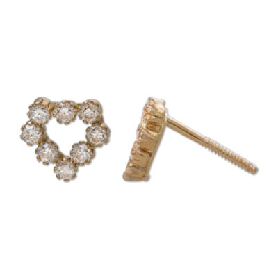 Children's 14K Gold Cubic Zirconia Cluster Heart Stud Earrings