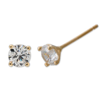 Children's 14K Gold Cubic Zirconia Stud 4-prong Earrings