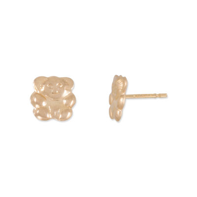 Children's 14K Gold Teddy Bear Stud Earrings