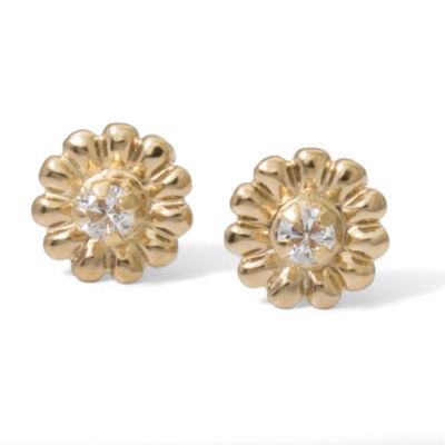 White Cubic Zirconia 14K Gold 5.7mm Stud Earrings