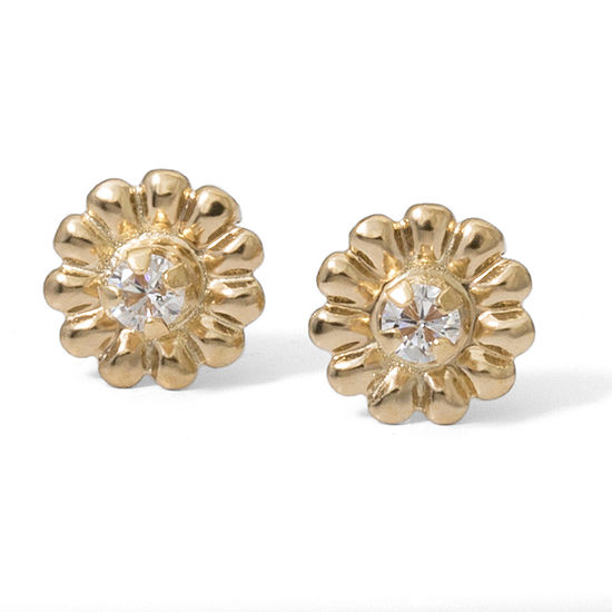 White Cubic Zirconia 14K Gold 5.7mm Stud Earrings