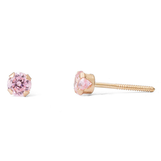 Children's 14K Gold Pink Cubic Zirconia Stud Earrings