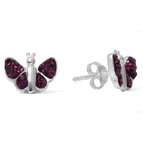 Children's Sterling Silver Purple Crystal Butterfly Stud Earrings