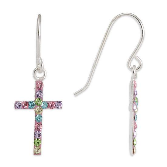 Sterling SIlver Multi Color Crystal Cross  Drop Earrings