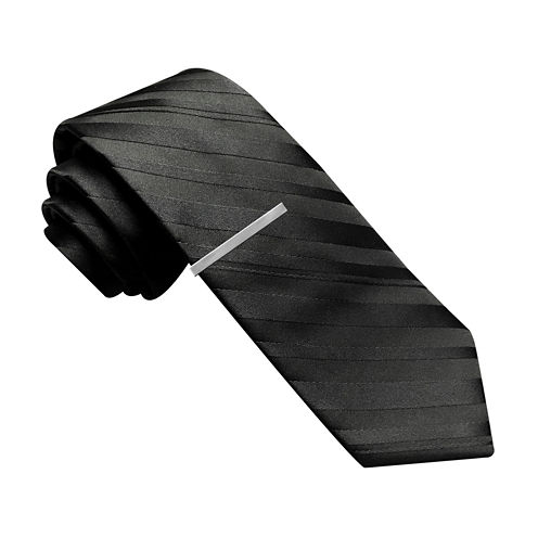 JF J. Ferrar® Variegated Stripe Tie with Tie Bar - Slim