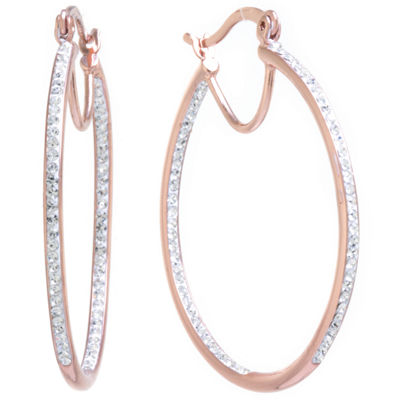 Sparkle Allure Crystal Inside Out Click-Top Clear 40mm Hoop Earrings