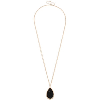 Mixit Womens Black Pendant Necklace