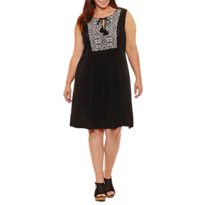 a.n.a Sleeveless Embroidered Sheath Dress-Plus
