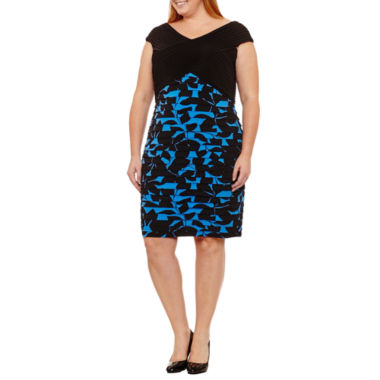 Maggy London Intl Sleeveless Pattern Sheath Dress-Plus