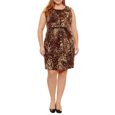 Spense Sleeveless Animal Sheath Dress-Plus